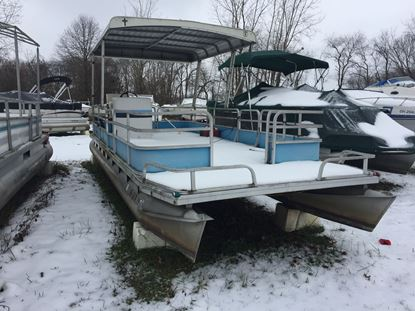 Picture of 1976 23' Riviera Cruiser Pontoon boat with a 1990 Johnson 9.9hp